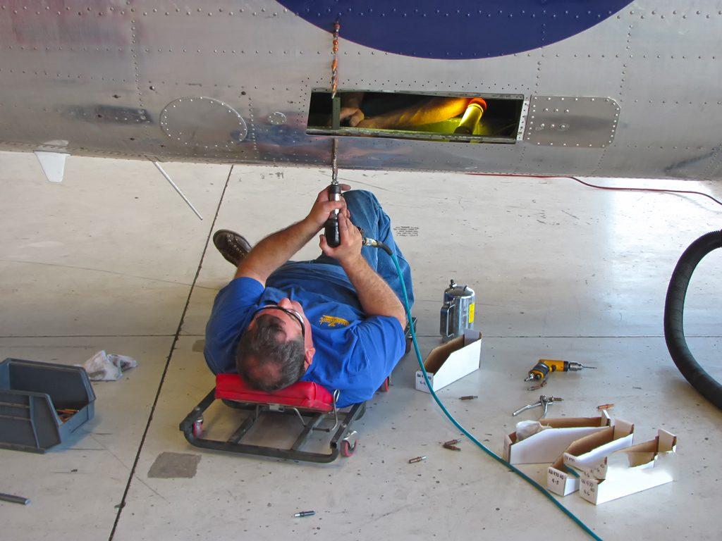 Sheet metal repair on the fuselage
