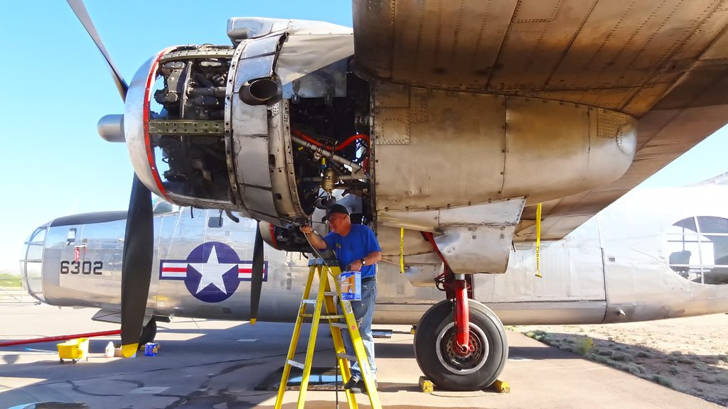 Cleaning the #1 engine before engine runs are performed, makes checking for leaks easier