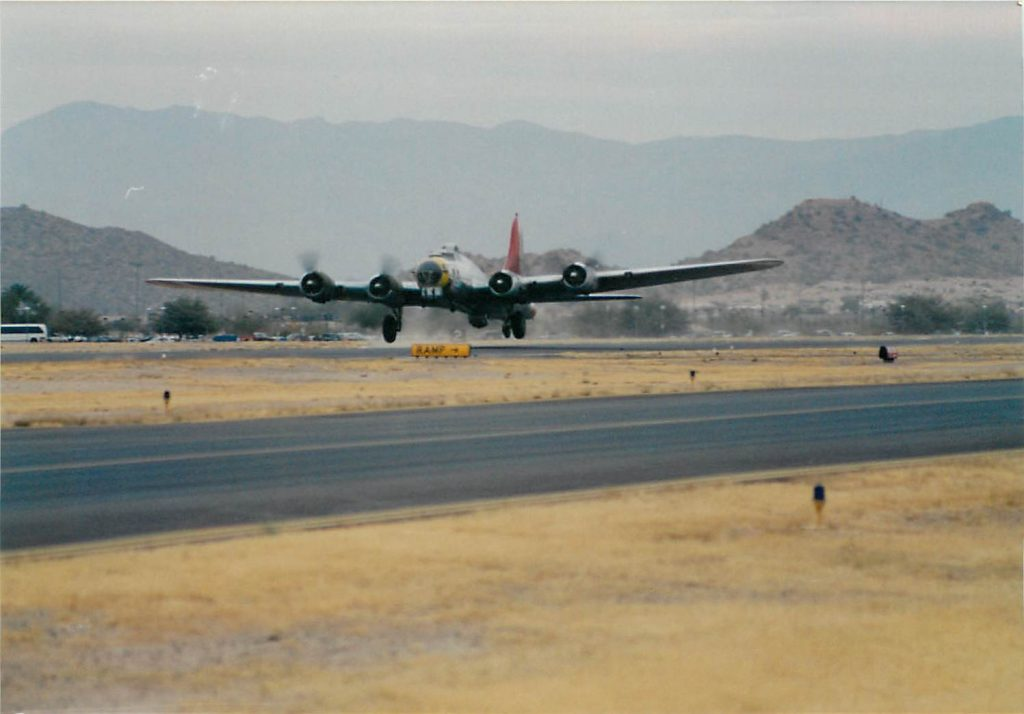 B-17 taking off for the first flight after repairs and modifications