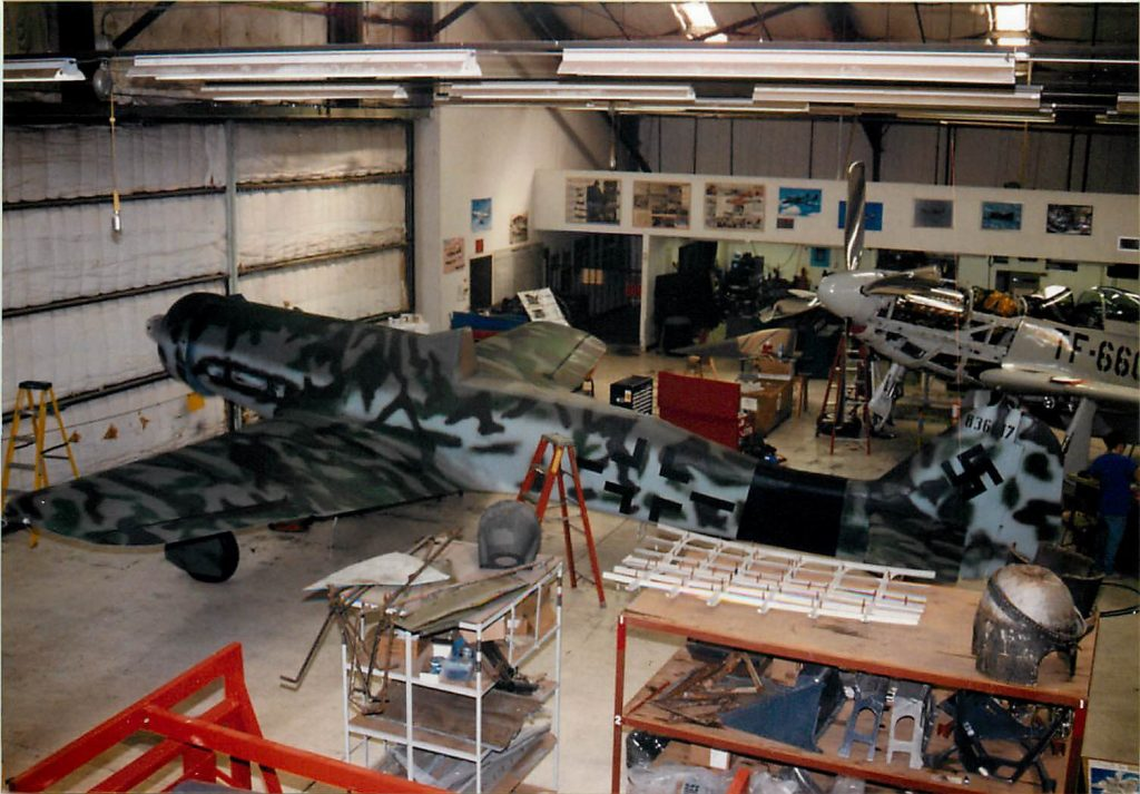 Newly painted aircraft back in shop