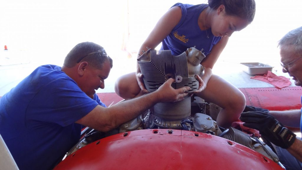 Installing repaired #1 cylinder