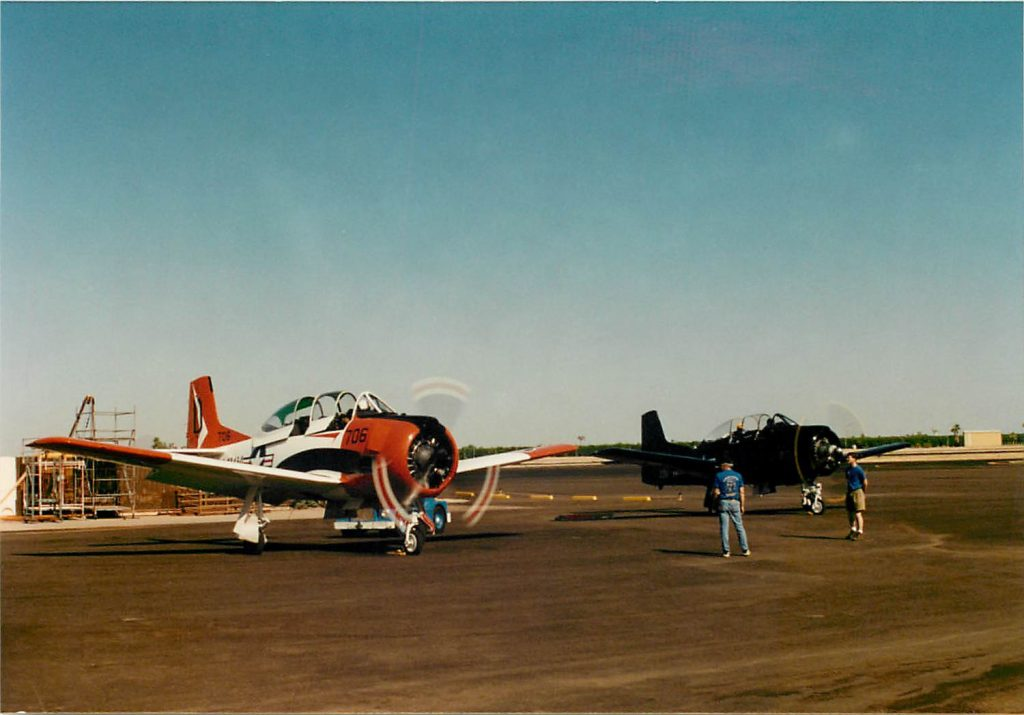 Two T-28's prepare for flight