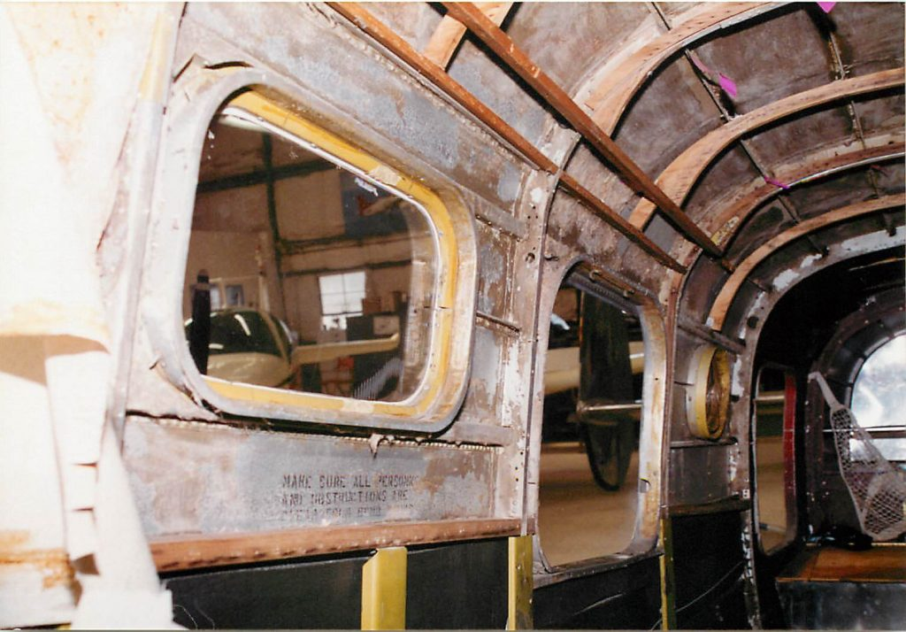 Inside fuselage, before restoration