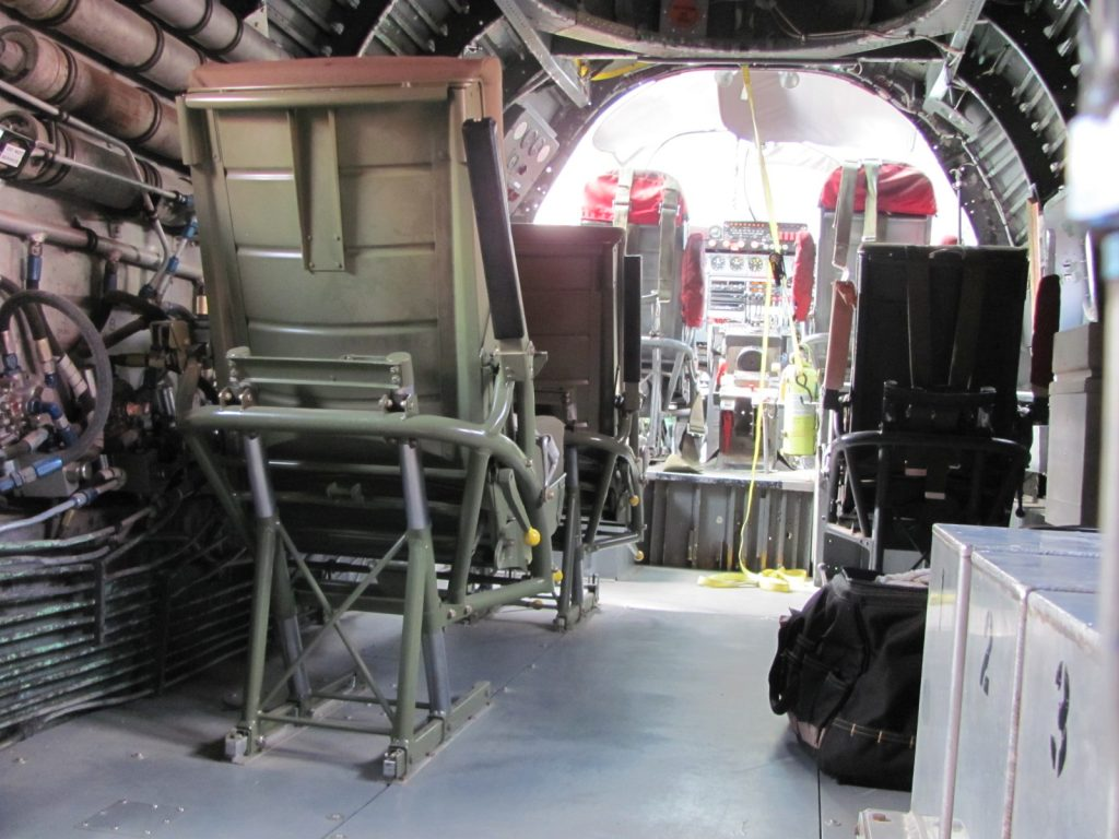 Restored seats installed on new flooring in cockpit