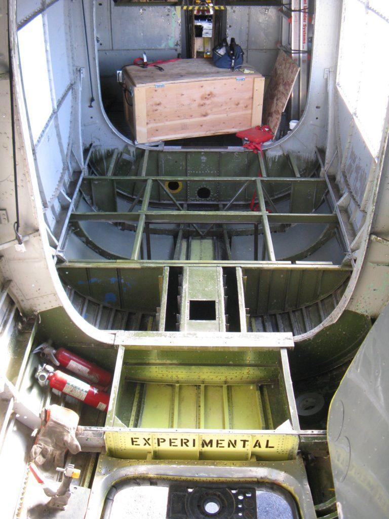 Waist floor structure, flooring removed