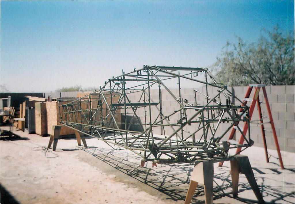 Fuselage frame, being painted