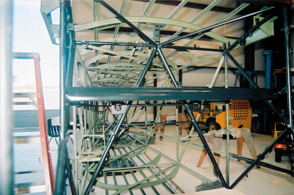 Belly and overhead installed on fuselage framework