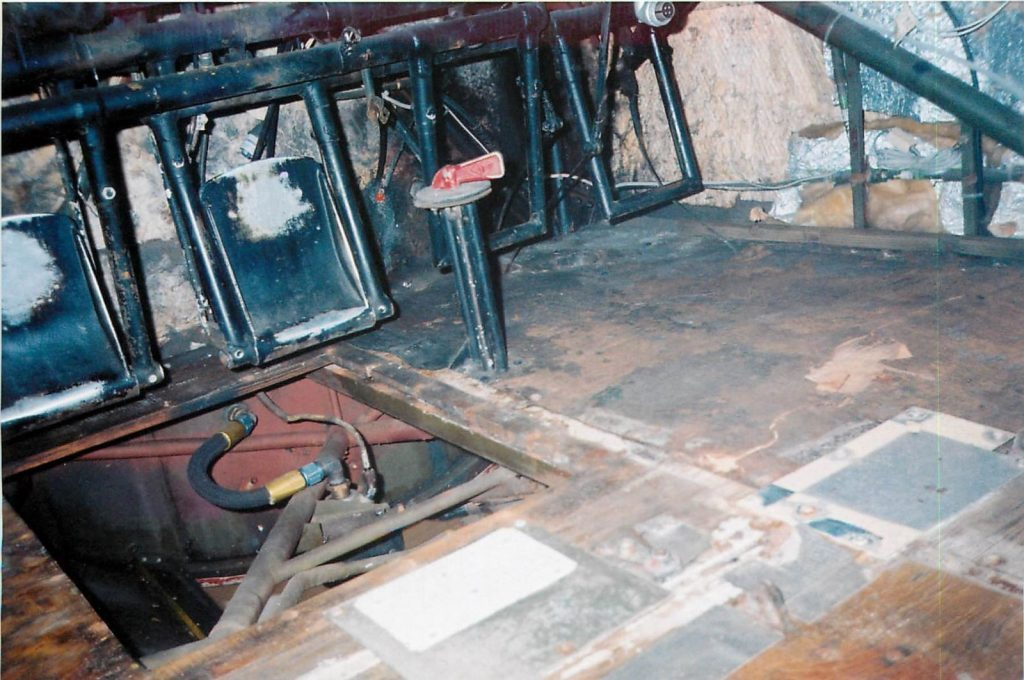 Cockpit flooring, before restoration