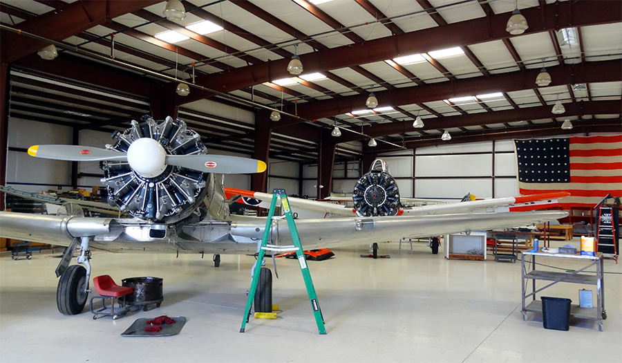 T-6 Texan and T-28 Trojan in for maintenance