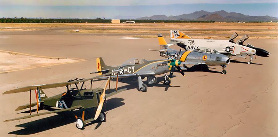 WWI S.E.5a, WWII P-51D, Korean War F-86F, Vietnam War F-4N Phantom