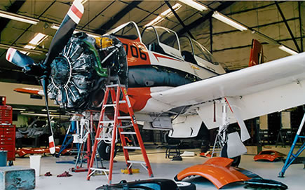 Performing an annual inspection on the North American T-28 Trojan