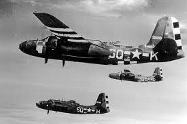Douglas A-20 Havoc flying in formation
