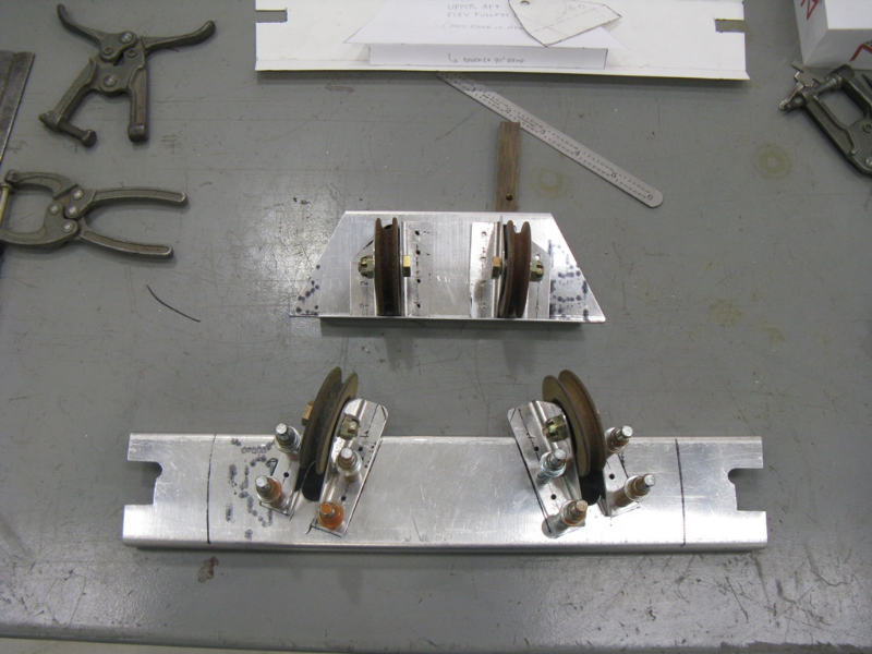 Elevator control pulley brackets, after fabrication