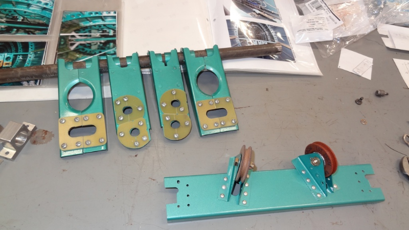 Aft fuselage cable guides, pulleys and tube, after fabrication