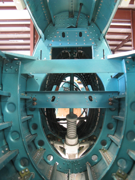 Cable brackets and pulleys in aft section of tail, after installation