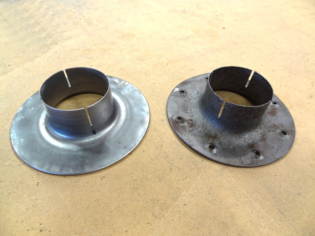Fuel primer port doubler in fabrication process, fabrication on left and original on right