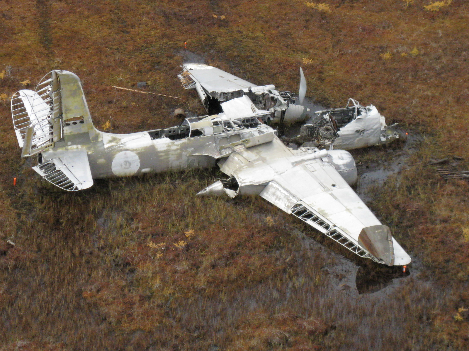 The A-20 Havoc at the crash site in Labrador Canada
