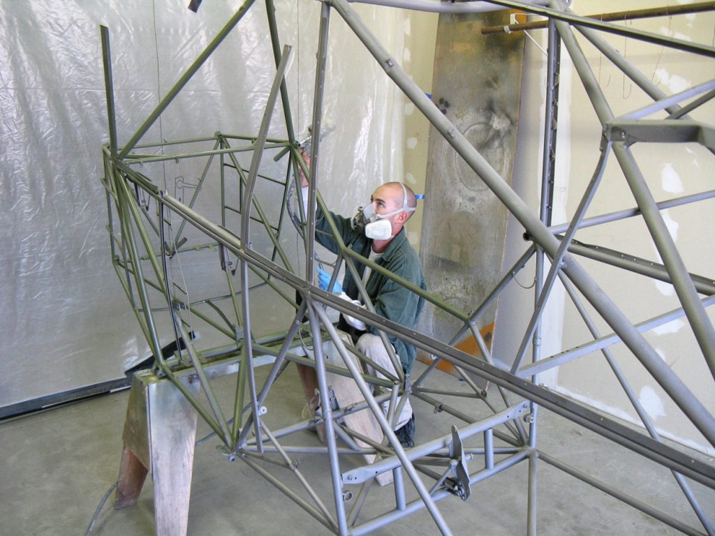 L-4 frame being painted